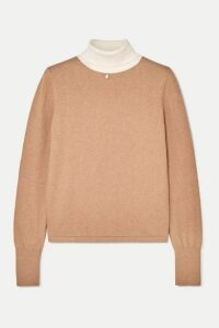 STAUD - Urchin Faux Pearl-embellished Cotton-blend Turtleneck Sweater - Sand