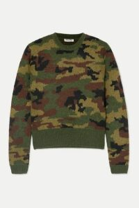 Miu Miu - Camouflage-intarsia Wool Sweater - Army green