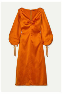 STAUD - Sofia Ruched Satin Midi Dress - Orange