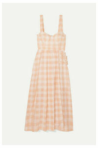 alice McCALL - Pink Moon Buckled Gingham Cotton-blend Midi Dress - Blush