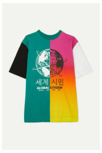 House of Holland - Oversized Paneled Printed Cotton-blend Jersey T-shirt - Green