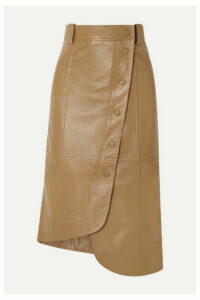 GANNI - Asymmetric Leather Wrap Skirt - Beige