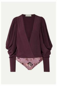 Silvia Tcherassi - Drew Wrap-effect Cold-shoulder Silk-georgette And Stretch-jersey Bodysuit - Grape