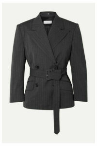 Dries Van Noten - Belted Double-breasted Pinstriped Twill Blazer - Dark gray