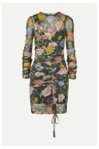 alice McCALL - Cosmic Ruched Metallic Floral-print Mesh Dress - Black