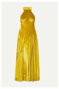 De La Vali - Vivienne Asymmetric Halterneck Velvet Midi Dress - Chartreuse