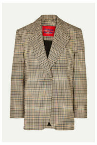 Solace London - Mirella Oversized Checked Woven Blazer - Beige