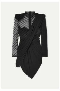 Balmain - Draped Crepe And Polka-dot Flocked Tulle Mini Dress - Black