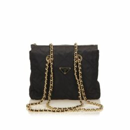 Prada Black Quilted Nylon Chain Tote Bag