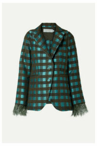 Silvia Tcherassi - Davina Feather-trimmed Cutout Checked Tweed Blazer - Teal