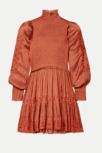 Ulla Johnson - Angelica Shirred Embroidered Satin Mini Dress - Orange