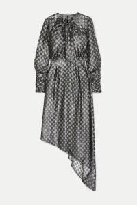 Dodo Bar Or - Melodi Tie-neck Asymmetric Metallic Silk-blend Jacquard Dress - Silver