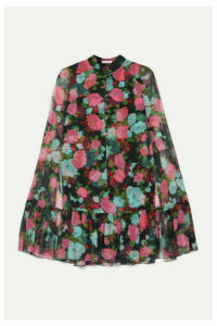 Erdem - Constantine Cape-effect Tiered Floral-print Silk-chiffon Mini Dress - Black