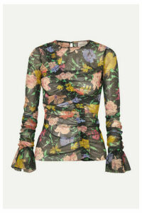 alice McCALL - Cosmic Ruched Metallic Floral-print Mesh Top - Black