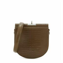 GU DE Demilune Brown Crocodile-effect Cross-body Bag