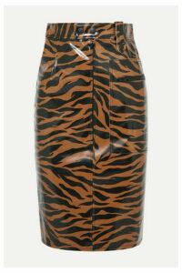 Kwaidan Editions - Tiger-print Pu Pencil Skirt - Brown