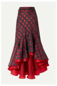 Silvia Tcherassi - Dallas Asymmetric Ruffled Checked Tweed Midi Skirt - Red