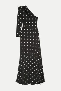 Rebecca Vallance - Penelope One-shoulder Polka-dot Crepe Maxi Dress - Black