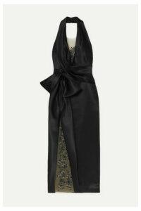 Marchesa - Embellished Embroidered Tulle-trimmed Duchesse-satin Halterneck Gown - Black