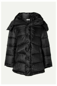 Balenciaga - New Swing Hooded Embroidered Quilted Shell-jacquard Coat - Black