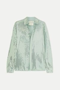 Bottega Veneta - Paillette-embellished Satin-jersey Shirt - Gray green