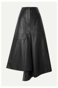 Tibi - Tissue Asymmetric Leather Midi Skirt - Black