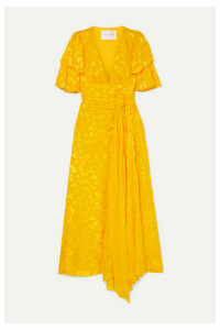 Carolina Herrera - Ruffled Fil Coupé Chiffon Midi Dress - Yellow