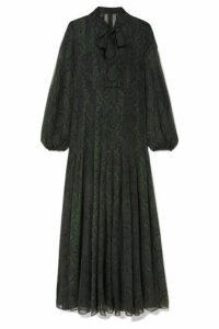 Akris - Pussy-bow Snake-print Silk-chiffon Maxi Dress - Green