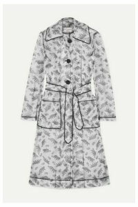 HVN - Jen Piped Printed Matte-pu Trench Coat - White