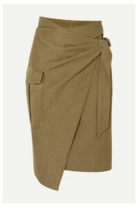 Isabel Marant Étoile - Giulia Cotton-twill Wrap Skirt - Army green