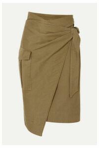 Isabel Marant Étoile - Giulia Cotton-twill Wrap Skirt - Army green