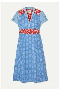 HVN - Morgan Printed Silk Crepe De Chine Midi Dress - Blue