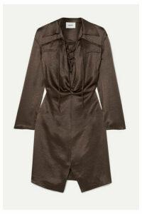 Nanushka - Pantha Lace-up Washed-satin Mini Dress - Dark brown