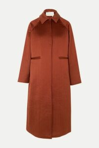 REMAIN Birger Christensen - Kyoto Leather-trimmed Quilted Satin Coat - Burgundy