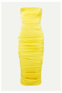 Alex Perry - Ace Strapless Ruched Satin Dress - Yellow