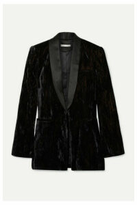 Alice + Olivia - Lola Satin-trimmed Crushed-velvet Blazer - Black