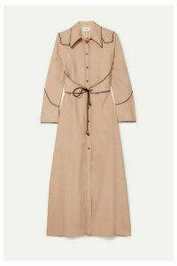 Nanushka - Parx Belted Poplin Midi Dress - Cream