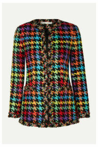 Alice + Olivia - Andreas Frayed Houndstooth Tweed Blazer - Black