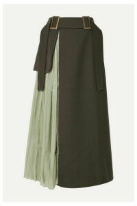 REJINA PYO - Evie Paneled Wool-blend Twill And Pleated Satin Skirt - Army green