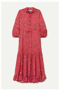 MUNTHE - Haylin Leopard-print Ruffled Satin Maxi Dress - Fuchsia
