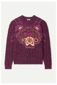 KENZO - Appliquéd Mélange Wool And Cotton-blend Sweater - Fuchsia