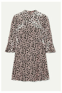 HVN - Ashley Leopard-print Velvet Mini Dress - Beige