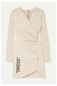 Off-White - Ruched Printed Stretch-crepe And Jersey Mini Dress - Beige