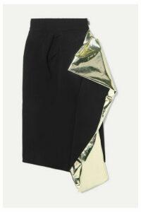 Maticevski - Alkali Draped Metallic Foil-trimmed Crepe Skirt - Black