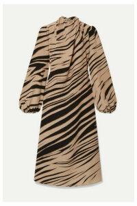 Beaufille - Bardot Zebra-print Twill Midi Dress - Zebra print