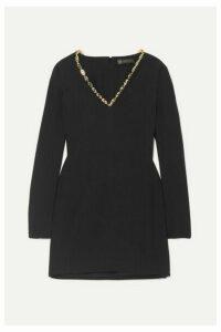 Versace - Embellished Crepe Mini Dress - Black