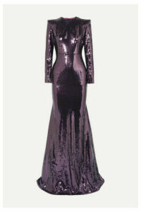 Alex Perry - Felix Sequined Satin Gown - Purple