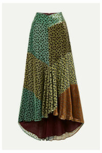 Silvia Tcherassi - Delilah Asymmetric Color-block Polka-dot Velvet Midi Skirt - Teal