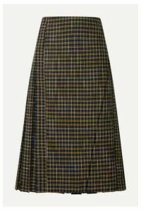 Beaufille - Kari Pleated Checked Twill Wrap Skirt - Green