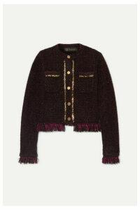 Versace - Embellished Frayed Metallic Bouclé Blazer - Black